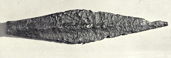 An Iron Age spearhead found in Dunstable in 1927 and illustrated in William Austin's History of Luton