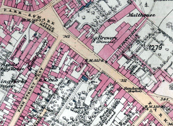 Burrs', now disused, brewery shown on an Ordnance Survey map of 1880