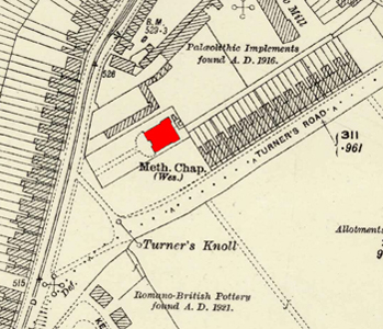 The 1911 chapel shown on an Ordnance Survey map of 1924