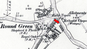 The original chapel of 1865 shown on an Ordnance Survey map of 1901