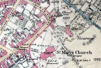 the site of the church street national school shown on an ordnance survey map of 1880