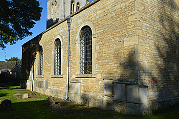 'Exterior of the south aisle showing memorial blisters - October 2015'