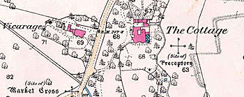 Map showing the site of the Preceptory