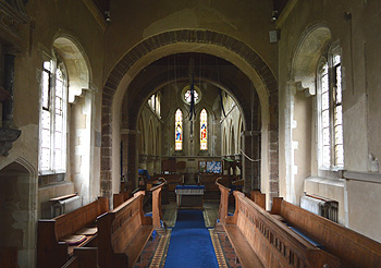 The interior looking west from the chancel September 2014