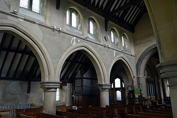 The north aisle and north side of the nave from the south door September 2014
