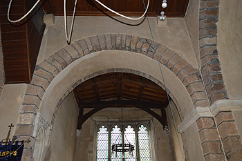 The south transept arch September 2014