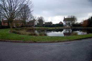 Milton Bryan pond in January 2008 - the chapel would have been on the far side