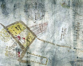 Milton Bryan windmill is at the top of this map of 1635 [T46-1]