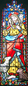 Detail of Christ the Good Shepherd from the south aisle west window February 2011