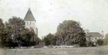 Moggerhanger Church and Vicarage taken around 1900