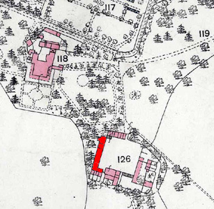 Groom's Cottage highlighted in red on this map of 1883