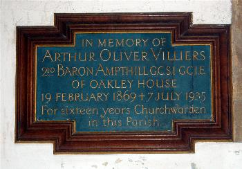 Plaque to the 2nd Baron Ampthill on the north wall of the north aisle March 2011