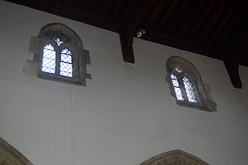 The clerestory on the north side of the nave August 2011