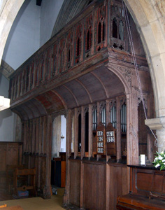 The rood screen seen from the south aisle March 2011