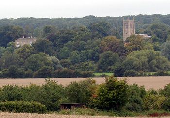 Odell Castle and Church seen from Felmersham Road September 2008