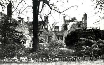 Ruins of Odell Castle following the fire