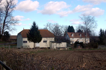 1 and 2 Church End with barn March 2008