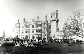 Old Warden House - front view with hunt in grounds about 1900