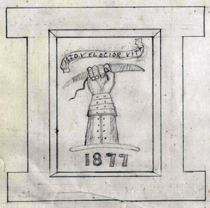 sketch of Shuttleworth coat of arms for inclusion on their buildings