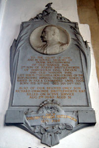 Frank Shuttleworth's memorial on the north wall of the chancel March 2008