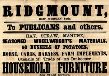 Notice advertising sale of the former licensee's stock and furniture in 1871 [SF51/21]