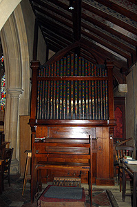 The organ at the east end of the south aisle June 2011