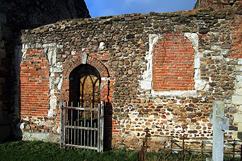 The south door in the wall of the chancel January 2012