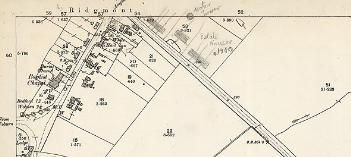 The south end of the village in 1901 with later annotations