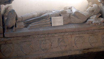 Close-up of the tomb of the unknown knight in the south aisle January 2011