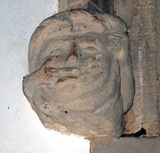 Head on the north side of the chancel arch January 2011