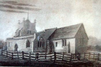 Salford Church - a photograph of a drawing in the vestry