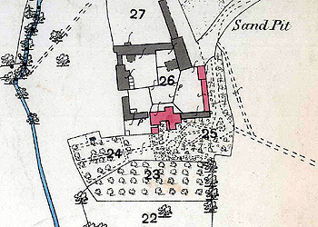 Shefford Hardwick Farmhouse on a map of 1883