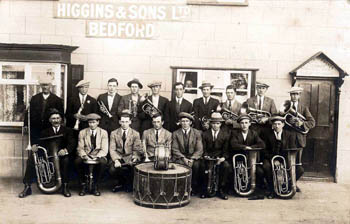 brass band outside Coach and Horses 1920s