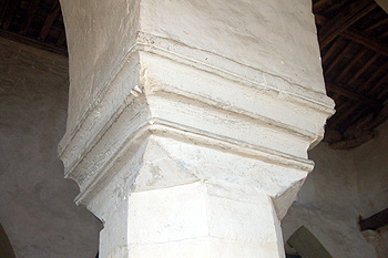 Capital of a pillar at the west end of the south arcade May 2011