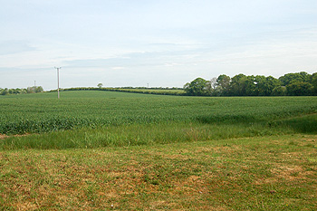 Looking towards the county boundary by the former Cat and Custard Pot May 2011