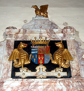 Crest on the memorial to the 6th Earl of Kent August 2011