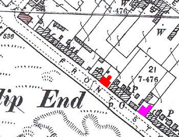 The Shepherd's Crook shown in red on a map of 1901