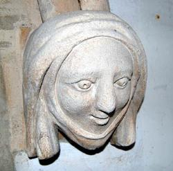 female head in Stagsden church porch December 2007