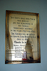 Church restoration plaque on the south aisle wall December 2008