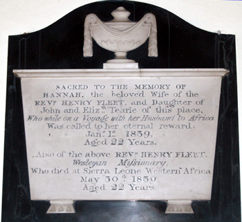 Fleet memorial on the south aisle west wall December 2008