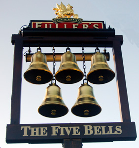 The Five Bells inn sign December 2008