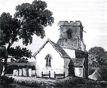 The church from the west before the rebuilding of 1858-1860 - by George Shepherd in 1823