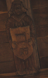Angel with the initials of Robert Taylor on a roof beam January 2010