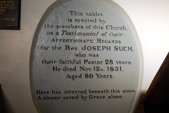 Plaque to Joseph Such inside West End Baptist Meeting December 2009