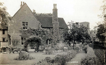Stevington Vicarage with the church in the background about 1900 [Z1306/112]