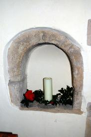 Medieval stoup in the south wall of the south aisle January 2010