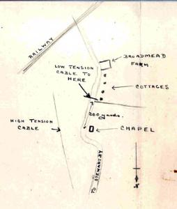 Sketch map of the site of the Methodist chapel 1952 [MB1810]