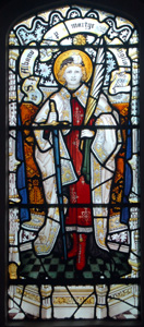 Saint Alban - stained glass window in the south wall of Studham church chancel November 2009