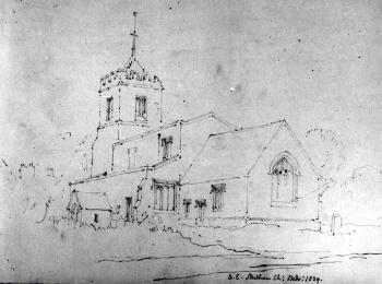 Studham church from the south-east in 1839 by Buckler [Z49/1083]