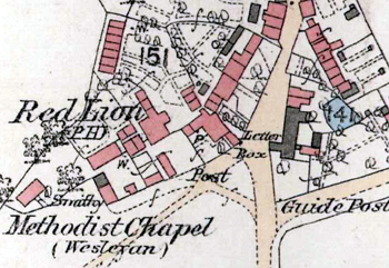 Studham post office marked on the 1880 map